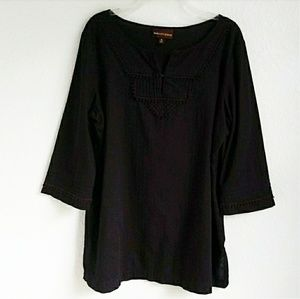 DANA BUCHMAN | Black Boho Cotton Tunic Top Sz. XL
